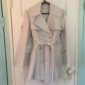 Via Spiga Wheat Double-Breasted Trench Coat Small